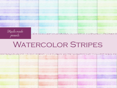 Digital Papier Regenbogen Watercolor Stripes